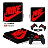Ci-Yu-Online VINYL SKIN [PS4 Slim] Nike Logo Shoe Box Black Red Light Bar Whole Body VINYL SKIN STICKER DECAL COVER for PS4 Slim Playstation 4 Slim System Console and Controllers