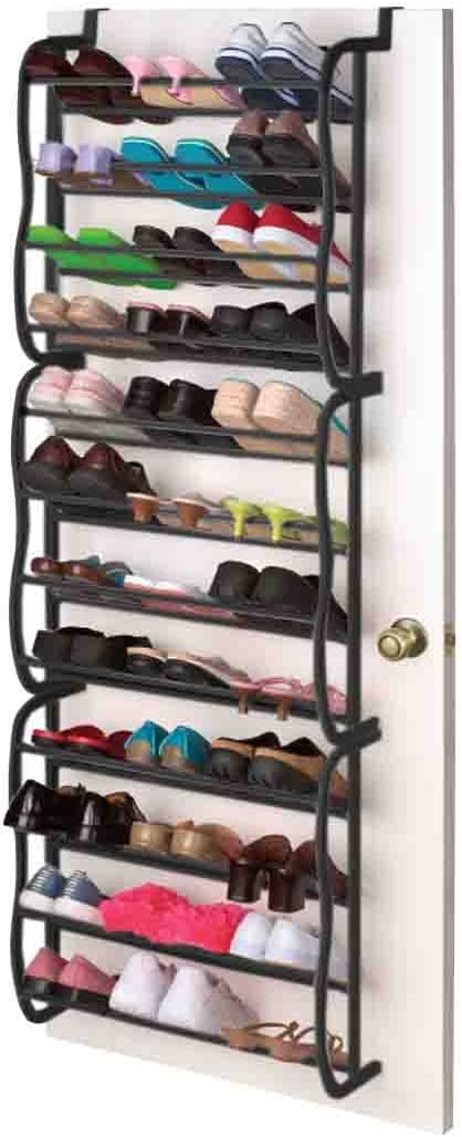 Sunbeam Shoe Rack for 36 Pair Over The Door Space Saver Shelf Closet Wall Hanging Organizer Storage Stand Black