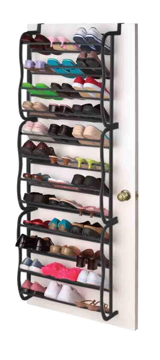 Sunbeam Shoe Rack for 36 Pair Over The Door Space Saver Shelf Closet Wall Hanging Organizer Storage Stand Black by Sunbeam