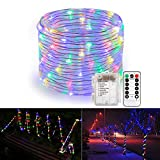 B-right 46ft LED Rope Lights, Battery Powered Remote 8 Modes/Dimmable/Timer, Waterproof Fairy String Lights for Garden Patio Party Christmas Garden Tree Outdoor Decoration (Multi-Color)