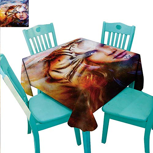 Mystic Elegant Waterproof Spillproof Polyester Fabric Table Cover Mighty Tiger and Lion Head with Woman Face on Ornamental Background Artwork Runners,Gatsby Wedding,Glam Wedding Decor,Vintage Wedding -