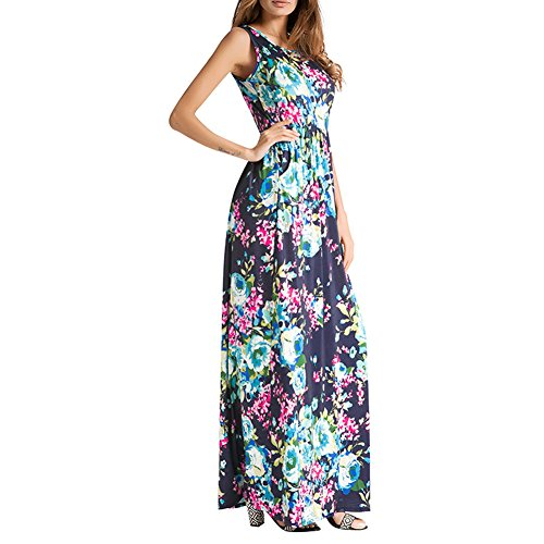 Floral Round Dress Maxi Neck Blue Sleeveless BISHE Print Casual Womens Long Vest Floral 5qwpngA