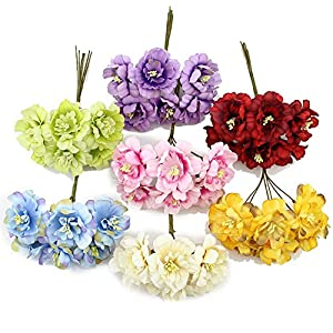 HuaHua-Store 6Pieces 5Cm Artificial Flowers Silk Plum Flower for DIY Scrapbooking Wreath Wedding Decoration Fake Flowers 56