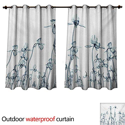 WilliamsDecor Flower Outdoor Curtain for Patio X-ray Photo of a Group of Orchids Bottom to Top Rare Unseen Art in Complex Nature W72 x L72(183cm x 183cm)