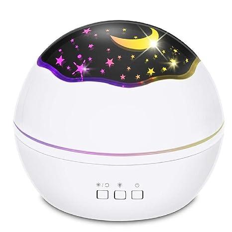 8 colores proyector de estrella giratoria luz nocturna luminaria ...