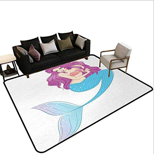 AlEASYHOME Soft Bedroom Rugs, Cute Mermaid Playing with Her Hair Folkloric Mythical Goddess Princess, 3.2′x5.2′ for Living Room Home Decor, Turquoise Fuscia White
