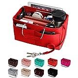 Purse Organizer, Multi-Pocket Felt Handbag Organizer, Purse Insert Organizer with Handles, Medium, Large (Large, Red)