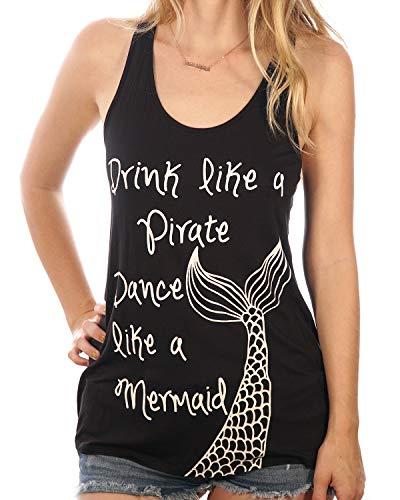 (Drink Like A Pirate Dance Like a Mermaid Nautical Summer Women's Tank Top (Medium) Black)