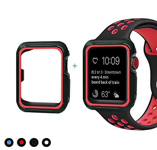 C-tree Band with Case 42mm Shock Proof Shatter Resistant Protective Case Silicone Sport Replacement Black Red 42mm Dial Black Silicon Band