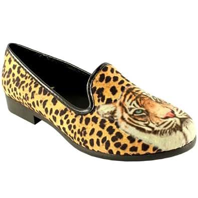 Womens YRU Youth Rise Up Lowf Cheetah Slip On Loafers Flat Ballet Shoes - Black - 10