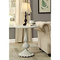 Coaster Round End Table in Antique White