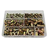 Raogoodcx 210Pcs M4 M5 M6 M8 M10 M12 Mixed Zinc Plated Carbon Steel Rivet Nut Threaded Rivnut Insert