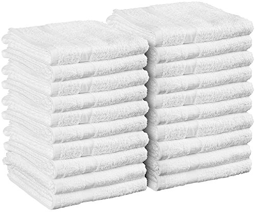 Cotton Salon Towels - Gym Towel - Hand Towel - (24-Pack, White) - 16 inches x 27 inches - Ringspun-Cotton, Maximum Softness and Absorbency, Easy Care – by Utopia Towels