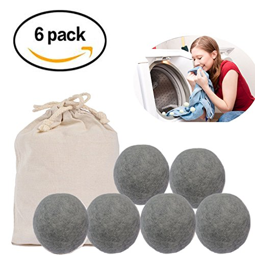 Wool Dryer Balls Natural Soften Fabric Eliminate static cling Natural Fabric Softener No Chemical Non-Toxic Extra Large Wooly Tumbler Shorten Drying Time Eliminate Noise 6 X PACK (6, Grey)