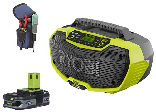 Ryobi P746 ONE+ 18-Volt Hybrid Stereo with Bluetooth Wireless Technology and Ryobi P107 Compact Lithium Battery and Voyager Phone/Tool Holder by Ryobi