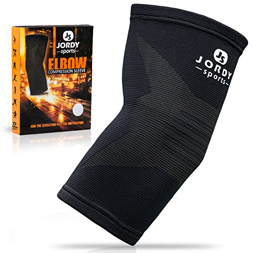 Jordy Sports Elbow Compression Brace - Arm Support Sleeve for Tennis and Golfer's Elbow, Arthritis, Tendonitis, Weightlifting, Workout - Pain Relief, Recovery and Protection, Men, Women, Any Activity - Sleeve Tackle