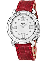 Fendi Selleria Womens Stainless Steel Fashion Swiss Watch - Real Diamond Mother of Pearl Face Red Lizard Leather...