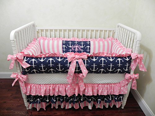 Nursery Bedding, Baby Bedding Set Tori, Girl Crib Bedding, Nautical Baby Bedding, Pink and Navy Crib Bedding, Anchor Baby Bedding - Choose Your Pieces by Just Baby Designs Inc