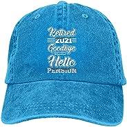 FAAXDIQ Retired 2021 Goodbye Tension Hello Pension Unisex Denim Baseball Cap Retro Washed Adjustable Dad Hats
