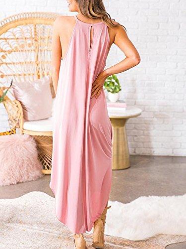 Beautife Womens Summer Sleeveless Halter Maxi Dress Casual Loose Fit Plain Long Dresses by Beautife (Image #1)