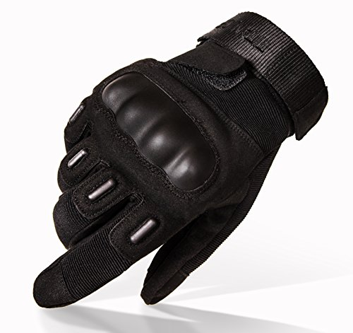 TitanOPS Full Finger Hard Knuckle Motorcycle Military Tactical Combat Training Army Shooting Outdoor Gloves (Black, L)]()