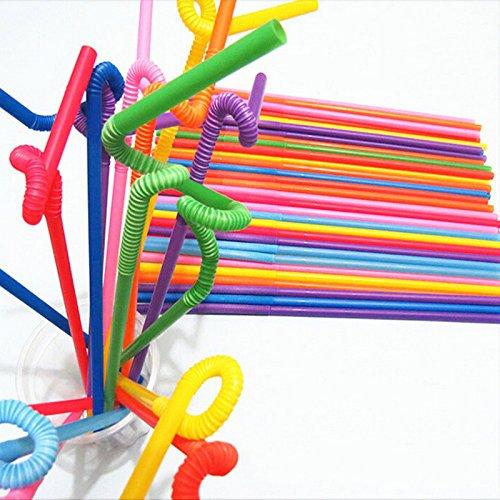 welecom 100 PCS Colorful Flexibler Einweg Extra Lang Kunststoff Trinkhalm Yingzhu-UK