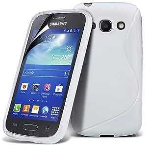 (Blanco) Samsung Galaxy Ace S7270 3 Protección onda S Línea Gel piel cubierta de la Caja y Protector de pantalla LCD de Spyrox