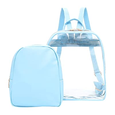 Clear Backpack,Stadium Approved Mini Backpack Heavy Duty See Through Backpack, Transparent Large College Bookbag For Security & Sporting Events,Blue