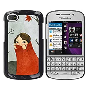 LASTONE PHONE CASE / Slim Protector Hard Shell Cover Case for BlackBerry Q10 / Cool Autumn Forest Painting Gray
