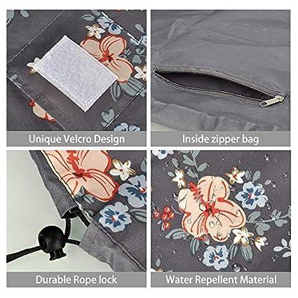 Fumxin Trousse de Maquillage Portable avec Cordon de Serrage pour Femmes et Filles Gray Flower 7.5in//21cm*6.6in//24cm