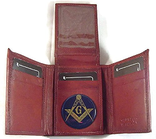MASON MASONIC BI FOLD MAHOGANY BROWN PASSPORT WALLET #500 NEW ... ()