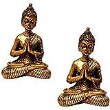 Kit de 2 Estátuas de Mini Buda Hindu Resina Dourado 8,5cm - Atacado