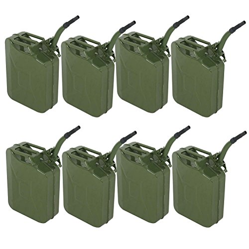 Clever Market Gas Tank Jerry Can Automotive Fuel Steel Green Tank Emergency Backup NATO Army Jerry Cans Gasoline Military Tank 5 Gal 20L Set 8 ()