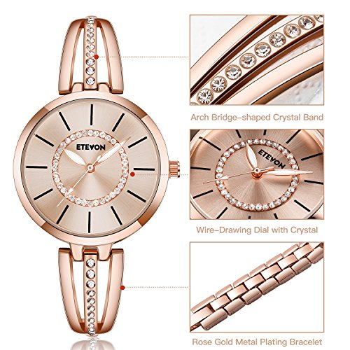 ETEVON Women's 'Crystal Bridge' Quartz Analog Watch with Luminous Pointers and Rose Gold Bracelet Waterproof, Fashion Dress Wrist Watches for Women by ETEVON (Image #2)