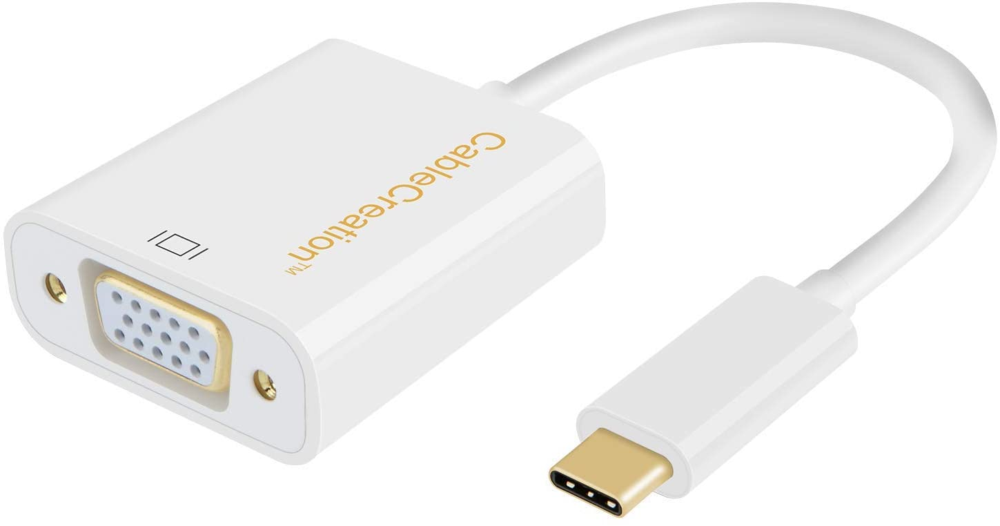 USB C to VGA Adapter, CableCreation USB Type C to VGA Converter 1080P, Compatible with MacBook Pro 2020, iPad Pro 2020 2018, Chromebook Pixel, XPS 13, Surface Book 2 to Projector, HDTV, Monitor