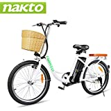 """NAKTO 22"""" Electric Bike 250W Electric Bicycle Sporting Mountain Bike with 36V 10Ah Lithium Battery"""