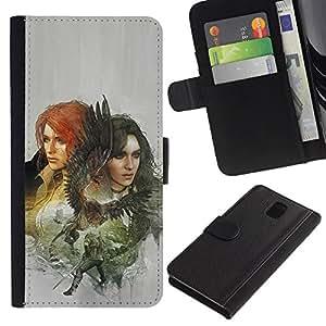 Protector de cuero de la PU de la cubierta del estilo de la carpeta del tirón BY RAYDREAMMM - Samsung Galaxy Note 3 III - Dragón Slayers