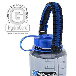 Top Rated Paracord Handle for Nalgene and Hydro Flask Wide Mouth Bottles, Worry-free HydroCord Holder Stays On Your Bottle (Blue/Black)