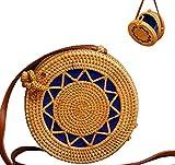 Women Handmade Round Woven Rattan Bag | Bohemian Shoulder Bag | Crossbody Straw Handbag (D: 7.9 in (L), Star)