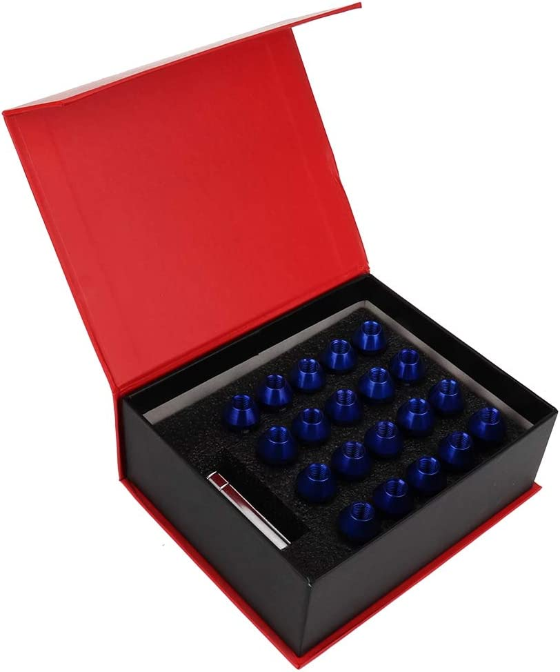 Blau Hlyjoon Radmuttern 20 St/ück Muttern Radn/üsse M12 x 1.5mm Aluminiumlegierung Abriebfest Korrosionsbest/ändig