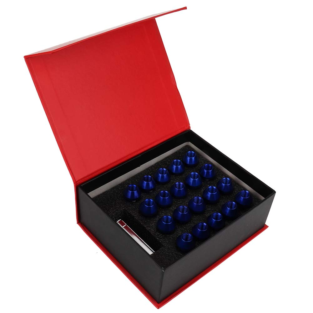 Optional Black Blue Qii lu 20pcs M12 x 1.5MM Universal Aluminum Car Wheel Nut Locking Lug Nuts Black