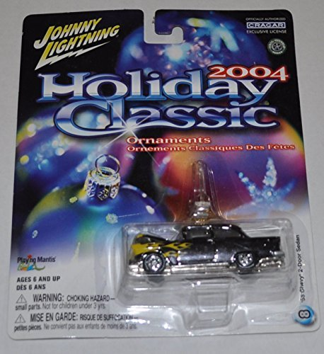 1955 Chevy 2-Door Sedan (Silver & Flames) - 2004 Holiday Classic Ornaments - Johnny Lightning - Diecast Car ()