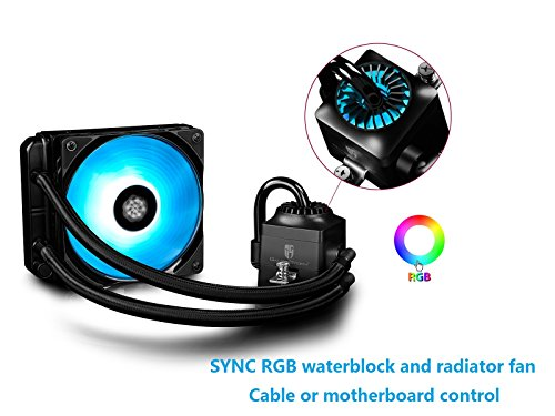 DEEPCOOL Liquid AIO CPU Cooler, Captain 120 RGB, SYNC RGB Waterblock and Fan Controlled by Wired Controller or Motherboard with 12V RGB 4-pin Header, 120mm PWM Fan, AM4 Compatible, 3-Year Warranty
