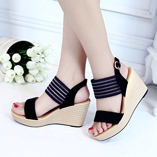 Keilabsatz Sandalen mit 9 cm Absatz und Schnalle Sommer Sandalen Damen Aiyoumei bxeT68m