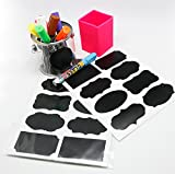 Cool-Shop® The BEST Large 40 Chalkboard Labels + Smooth Liquid Chalk Pen, to Decorate Your Pantry Storage & Office, LED Board, Contact Paper, Whiteboard, Blackboard | Chalk Stickers For Labeling