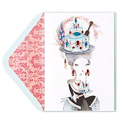 Papyrus Lady In Gem Cake Hat Birthday Card