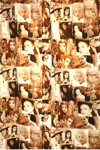 Linens And Bath Polyester Sepia Classic Movie Stars Fabric Shower Curtain 72 X Inch