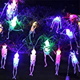 HX88 Halloween String Lights 2.5M 20LED Skull Lights Fairy Lights Family Party Ghost Festival Lights String Home Decorative Christmas Party Wedding Garden Decor Lamp (multicolor)