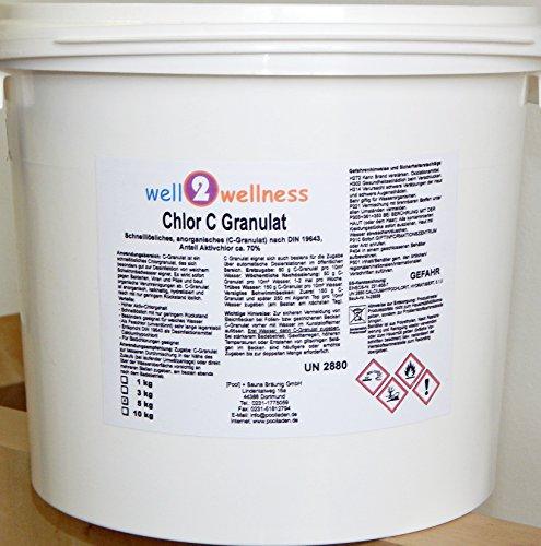 Chlor C Granulat - Calciumhypochlorit Granulat mit ca. 70% Aktivchlor speziell für weiches Wasser - 5,0 kg