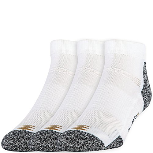 (PowerSox Men's 3-Pack Powerlites Low Cut Socks with Moisture Control, White, Shoe Size: 9-12.5)